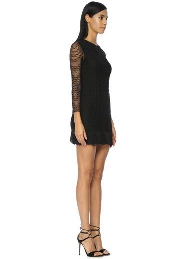 Academia Kolları Transparan Mini Triko Elbise Siyah